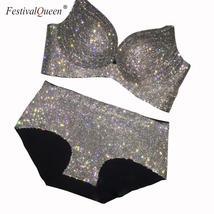 FestivalQueen high quality rhinestone bra two Pieces Set Women luxury se... - $116.14