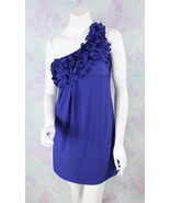 Lush 8 Indigo Blue Chiffon Floral Pleated One Shoulder Shift Dress Nords... - $29.69