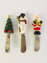 Christmas Butter Spreader Set Of 3 Santa Snowman Christmas Tree Stainles... - $25.73