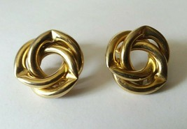"Vtg Fashion Earrings 80's 90's 1"" D Blue Gold Tone Dynasty Post Earrings - $6.92"