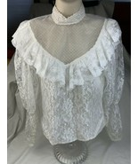 Vtg  gunnies Gunne Sax Blouse White Lace shirt top Sz 5 Ivory Lace Trim - $60.76