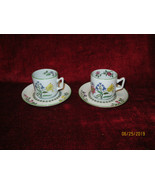Spode Summer Palace fine stone set of 2 Demitasse cups and saucers - $14.80