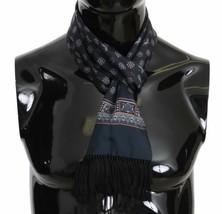 Dolce & Gabbana Mens Black Lion Floral Print 100% Silk Scarf Fringes 16c... - $127.71