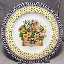 "SAKURA Spring Bouquet Stoneware 8 1/4"" Plate yellow Pansy butterfly  Deb... - $4.94"