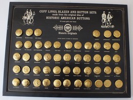 Historic American Button set of 50 by State 23K Gold over Brass. Mounted  - $71.43