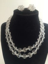 Vintage Marvella Cut Crystal Set Double Strand Necklace Clip Earrings - $28.96