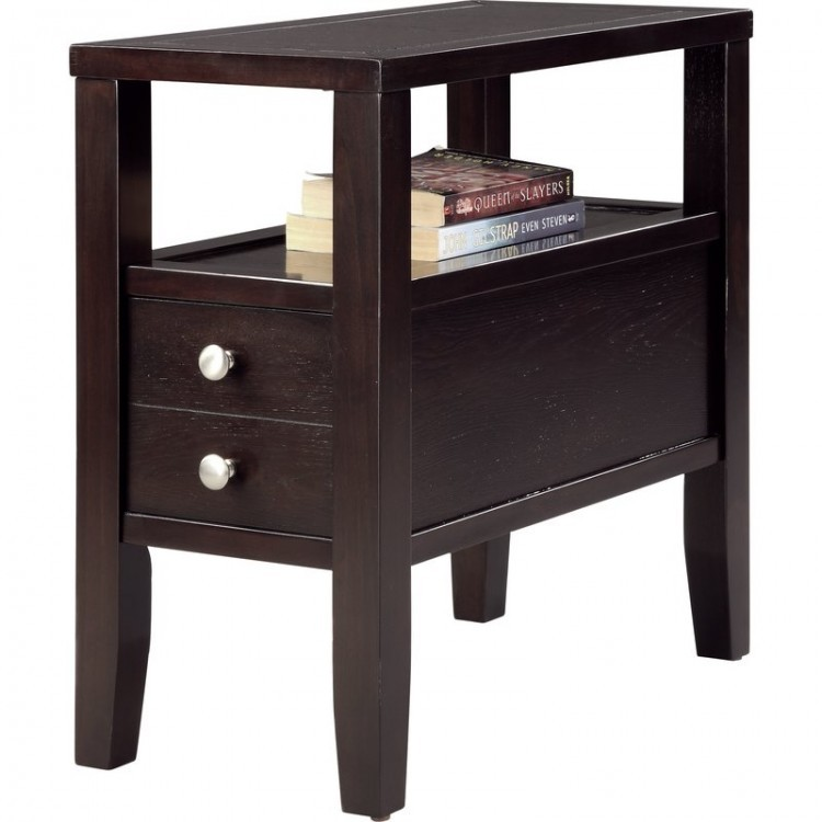 Side tables for small spaces narrow with drawers brown for Short narrow end tables