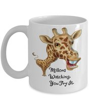 Millions Watching,You Try It. April The Giraffe. 11 oz White Ceramic Coffee or T - $15.99