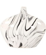 Vase HOWARD ELLIOTT Oblong Small White and Black Swirl - $149.00