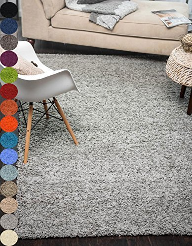 A2Z Rug Cozy Shaggy Collection 5x8-Feet Solid Area Rug - Cloud Gray