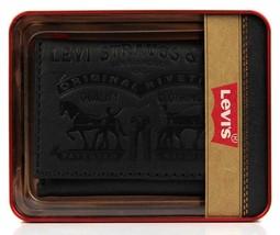 Levi's Men's Premium Coated Leather Credit Card Wallet Embossed Logo Black image 2