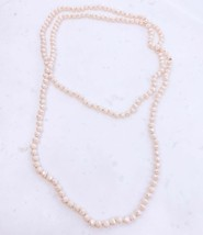 Beige Long Crystal Necklace, Long Beaded Necklace, Beige Knotted Necklace