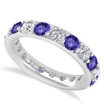 2.85 Ct Round Real Diamond & Tanzanite 14K Gold Full Eternity Wedding Ba... - €778,15 EUR