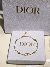 Auth NEW Christian Dior CLAIR D LUNE GOLD Crystal Pearl BRACELET  image 2