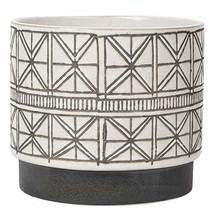 Geometric Ceramic Planter White Flower Pot Large Rustic Textured Stonewa... - $38.39