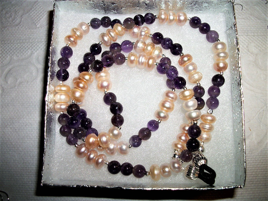 ARTISAN GLasses HOLDER Eyeglass Chain PINK  PW PEARLS +AMEthYST +EARRINGS