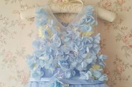 Full Flowers Embroidery Short Flower Girl Dress Blue Wedding Birthday Dress NWT image 3