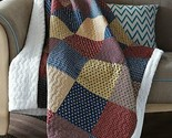 PATRIOTIC CHARM SHERPA QUILT THROW LODGE PATCHWORK CABIN BLANKET