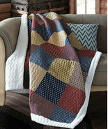 PATRIOTIC CHARM SHERPA QUILT THROW LODGE PATCHWORK CABIN BLANKET - €31,71 EUR