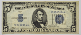 1934 A $5 Silver Certificate Five Dollars Note H08100044A FR#1651 - $49.49
