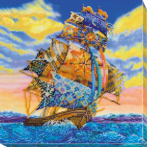 "Bead Embroidery DIY Kit ""On all sails"" 11.8""х11.8"" - $64.95"