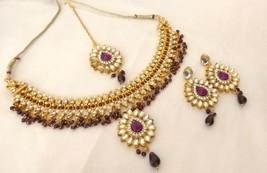 Indian Ethnic Gold Plated Kundan Purple Fashion Bridal Jewelry Necklace Set - $14.96