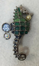 Brooch Pin Seahorse Blue & Green Liz Claibrone LC Faux Pearls Silver Tone Metal - $12.86