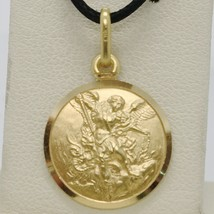 SOLID 18K YELLOW GOLD SAINT MICHAEL ARCHANGEL 15 MM MEDAL, PENDANT MADE IN ITALY image 1