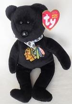 Ty NHL Chicago Blackhawks Stanley The Black Plush Beanie Baby Bear (2011)  - $34.95