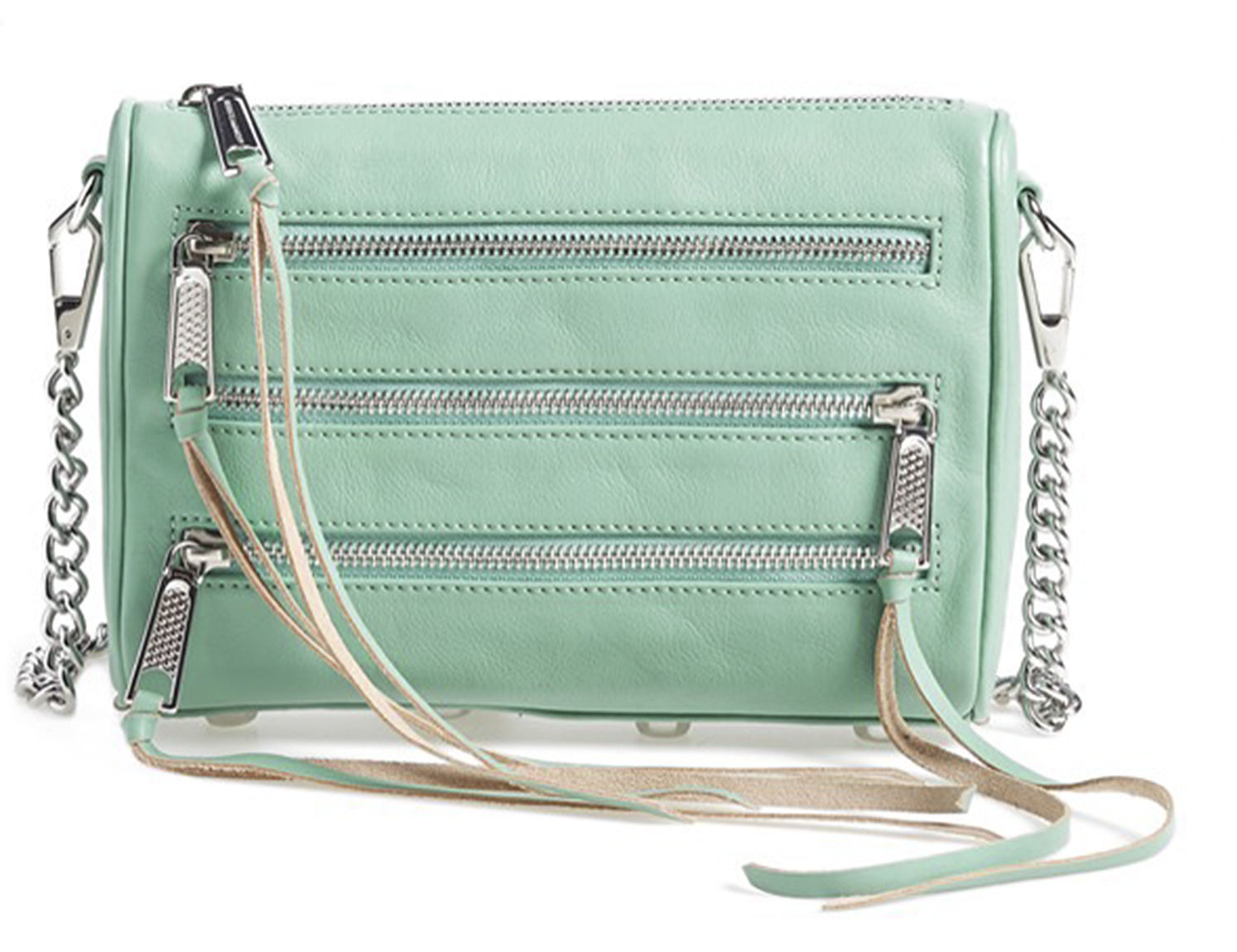 Primary image for Rebecca Minkoff Mini 5 Zip Sage Green Leather Crossbody Convertible Clutch Bag