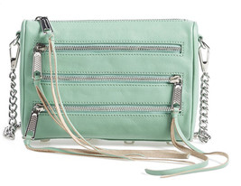 Rebecca Minkoff Mini 5 Zip Sage Green Leather Crossbody Convertible Clut... - $123.26