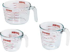 Pyrex 3-Piece Glass Measuring Cup Set Assorted Styles New... - $26.35