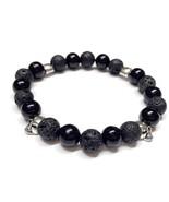 Skull Bracelet, Men Bracelet, Beaded Bracelet, Lava Rock Bracelet, Black... - $20.00