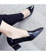 89h188 Brand name pointy pump w block & mid heel,genuine leather, Size 5-9,black - $78.80