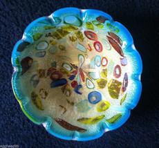 MURANO GLASS BOWL Italy gorgeous mid century turquoise teal multicolor latticino - $575.00