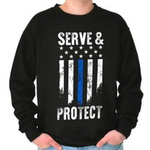 Serve And Protect Support Respect Police Thin Blue Line Sweatshirt - $18.99+