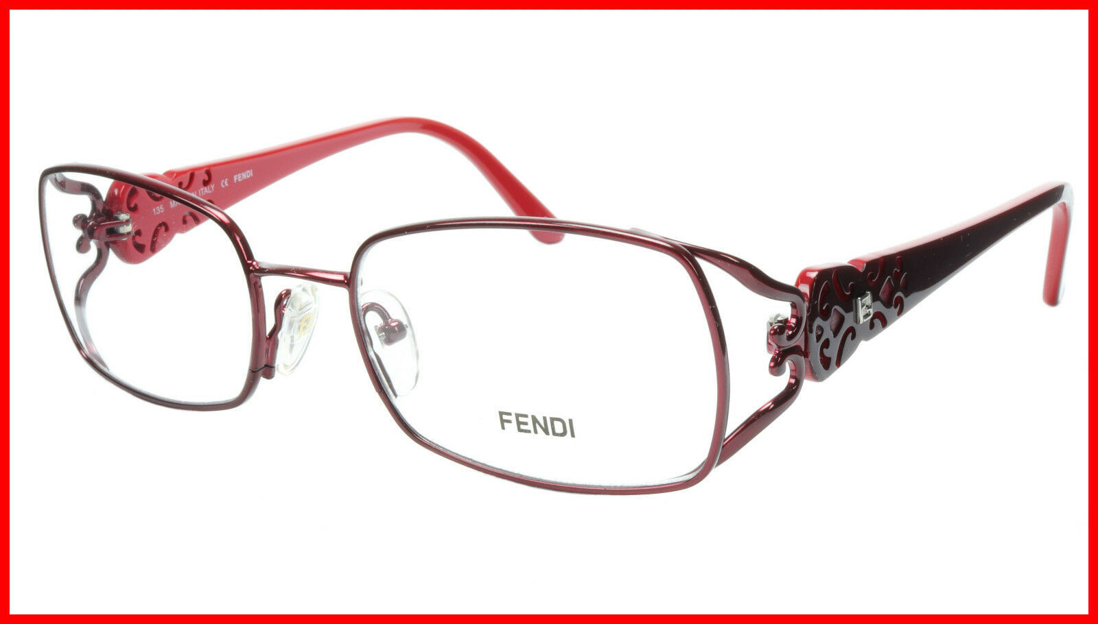 Primary image for FENDI Eyeglasses Frame F872 (615) Metal Acetate Bordeaux Italy Made 52-17-135 34