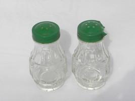 Vintage Wheaton Clear Glass Bullseye Salt & Pepper Shakers w/Green Plast... - $8.99