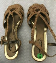Soft Style By Hush Puppies gold speckle Sandals Slingback WOMENS SIZE 9W... - $22.27