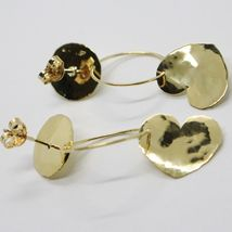 18K YELLOW GOLD FINELY WORKED AND HAMMERED PENDANT DISC CIRCLE HEART EARRINGS image 3
