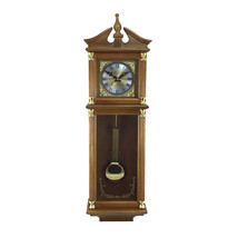 Bedford Clock Collection 34.5 Inch Chiming Pendulum Wall Clock in Antiqu... - $139.36