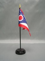 "OHIO 4X6"" TABLE TOP FLAG W/ BASE NEW US STATE DESKTOP HANDHELD STICK FLAG - $4.95"