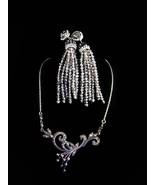 Vintage marcasite necklace - art deoc tassel earrings - sterling pendant... - $145.00