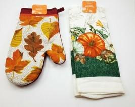 Kitchen Oven Mit & Dish Towel w/ Pumkims Set. Fall Autumn. Leaves. NEW - $12.02