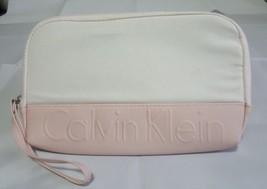 Calvin Klein Clutch Pink Leather White Canvas 11 x 7 Cotton - $356,87 MXN