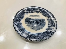 Wedgwood & co. Flow blue with cows 10 inch dinner plate England - $45.00
