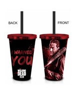 Walking Dead Zombie Negan I Warned You Red 18 oz Tumbler Carnival Travel... - $12.95