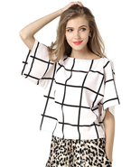 Women's Windowpane Grid Print Chiffon Short Bell Sleeve Blouse Tunic Top... - $24.99
