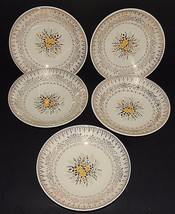 "5 Cunningham & Pickett Homer Laughlin Yellow Rose Soup Bowls 7.75""  22kt Gold - $59.39"