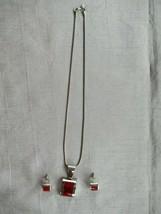 Vtg  925 sterling modernist sterling jasper garnet pendant earrings set - €118,12 EUR